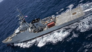 HMS Medway in the Caribbean Sea as part of the Atlantic Patrol Task group working alongside with RFA Argus
