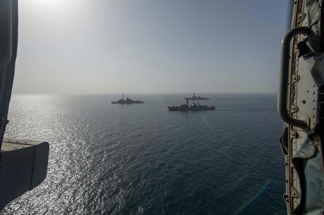 Intrepid acts by Monmouth as she joins French and Americans for Gulf exercise