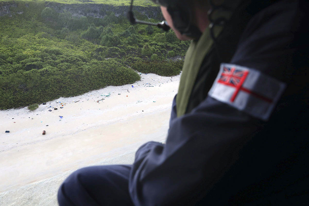 Commander Conor O'Neill inspects the beaches of Henderson Island for plastic waste