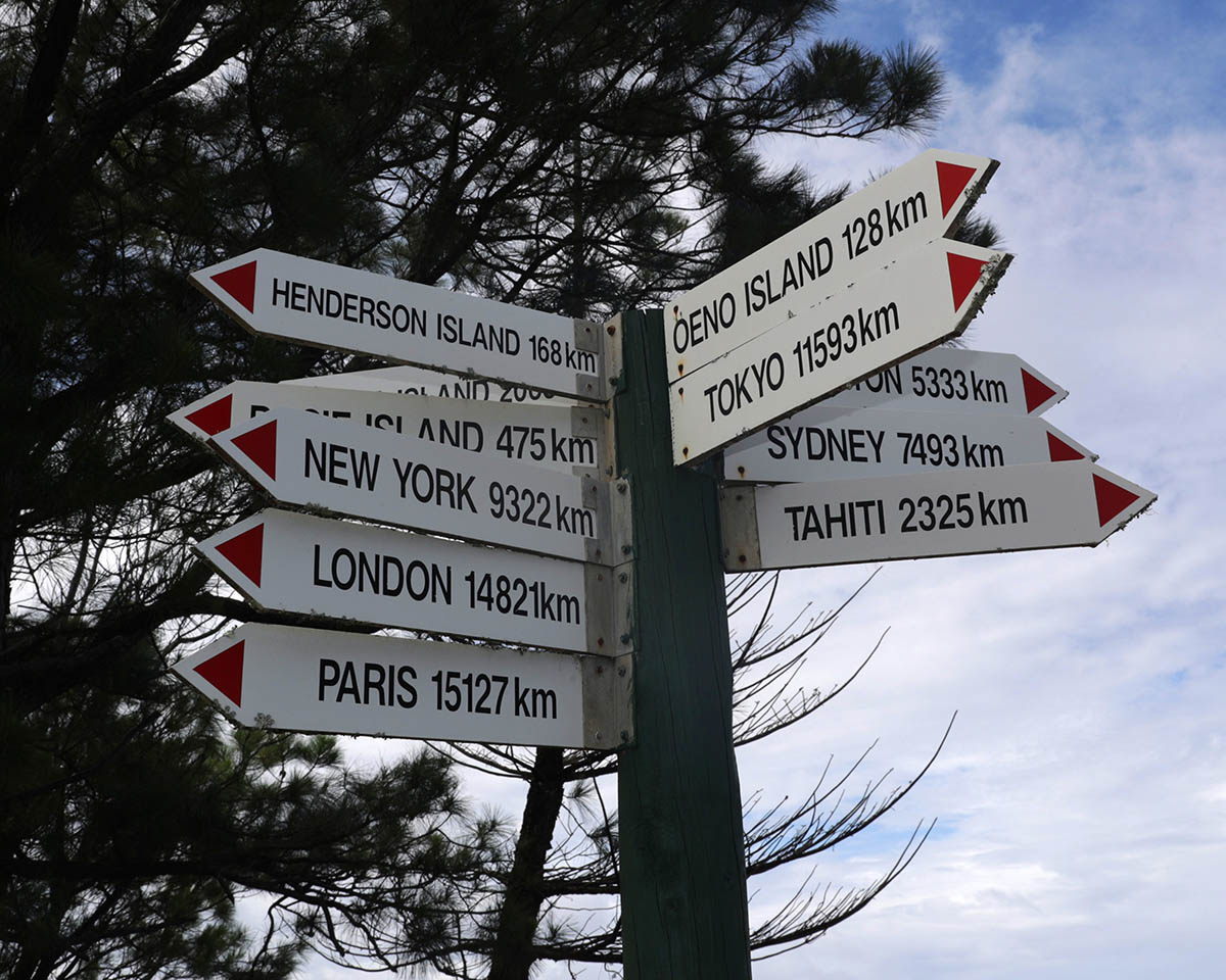 At the highest point of the island the sign shows different distances to city's across the world with London being 14821 Kilometres away