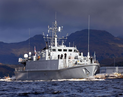 HMS Pembroke goes to action stations during  exercise off Scottish coast