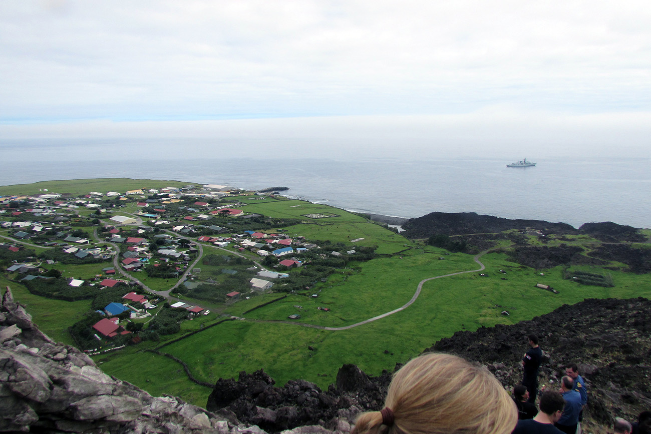 HMS Portland on visit to world's remotest island