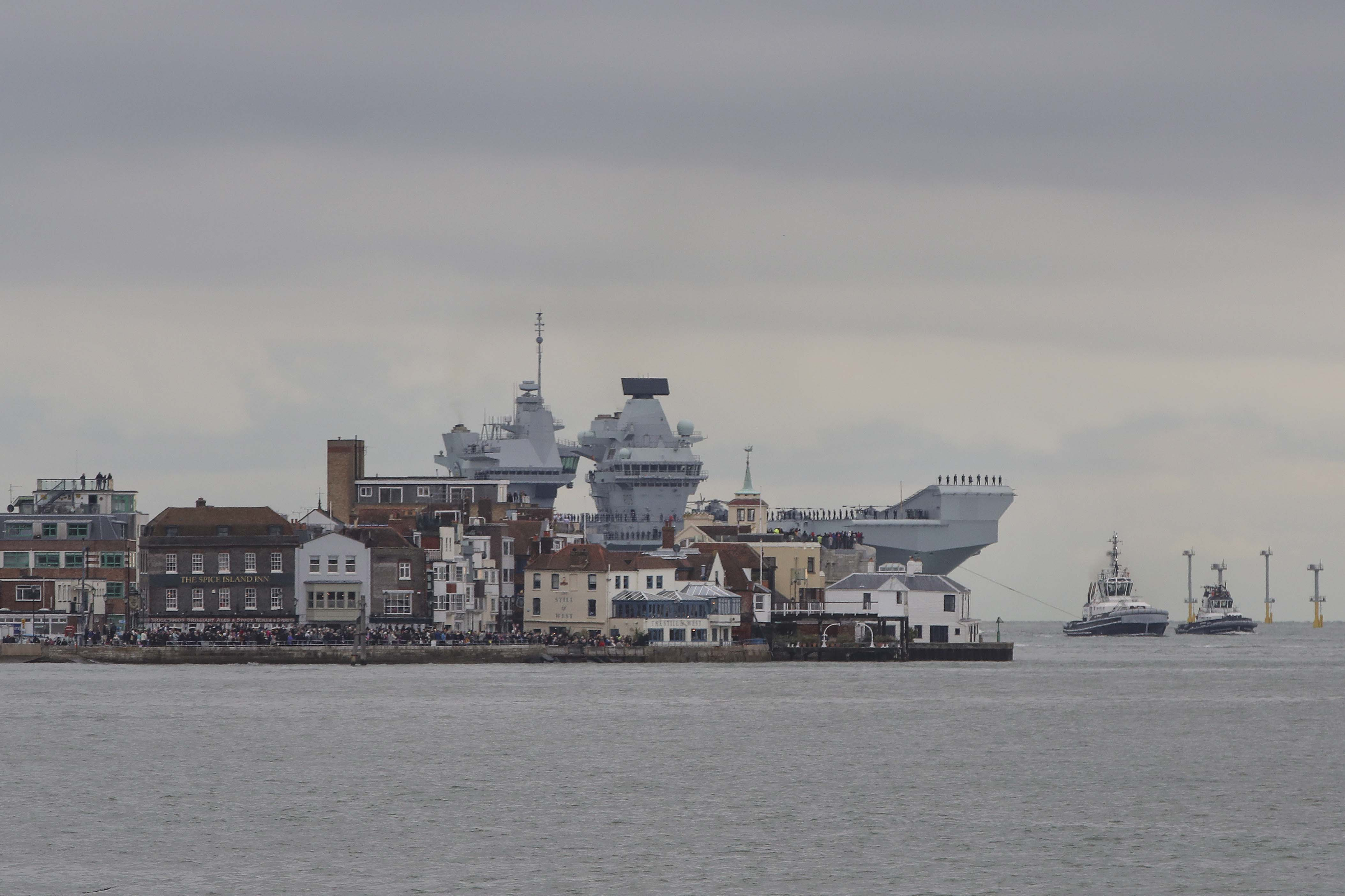HMS Prince of Wales sails into Portsmouth. Picture: LPhot Rory Arnold