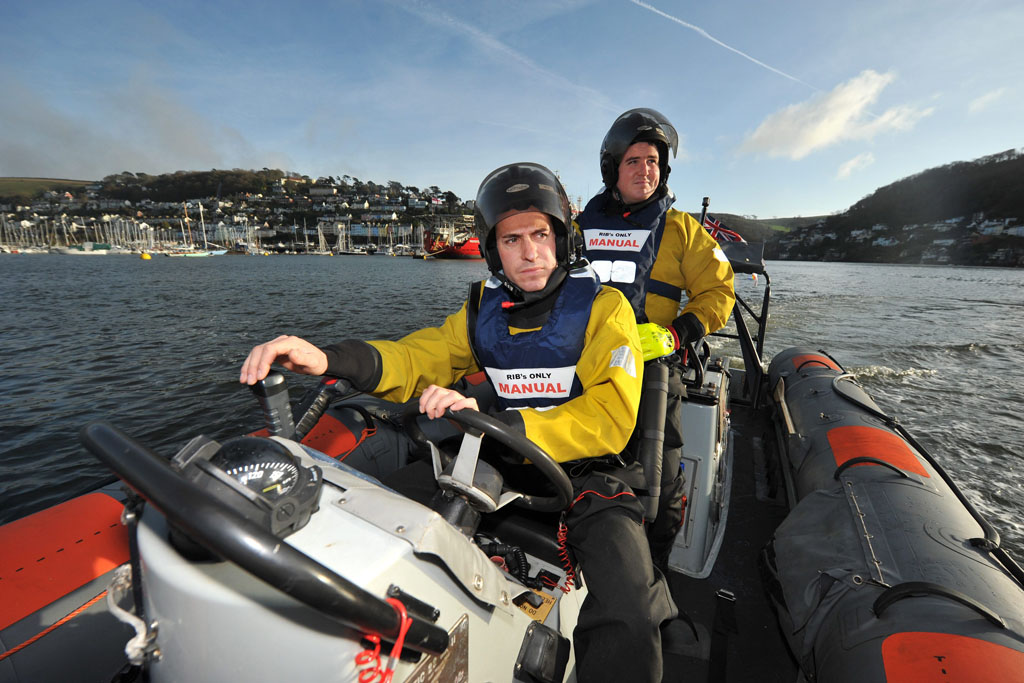 Leading Seaman Nicholas Cook and Able Seaman Ashleigh Smith drive Protector's seaboat in Dartmouth