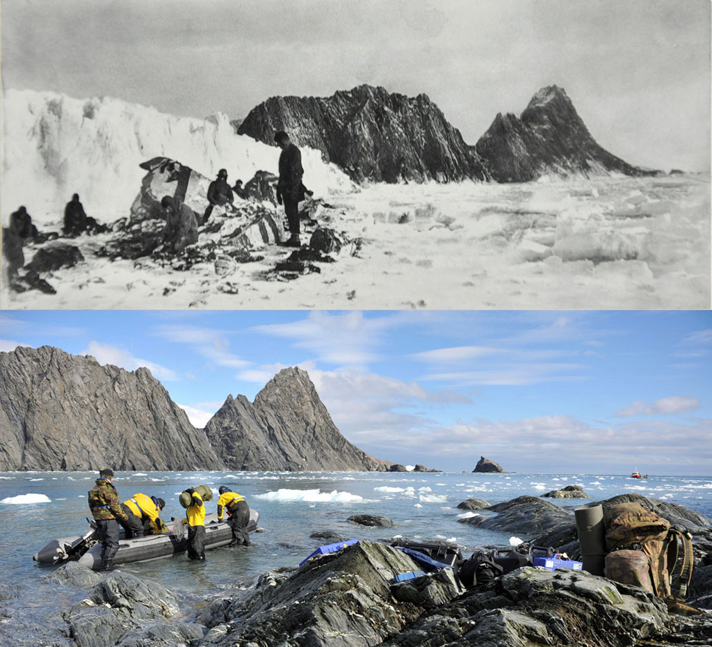 Protector sailors revisit legendary explorer's Antarctic refuge after 100 years