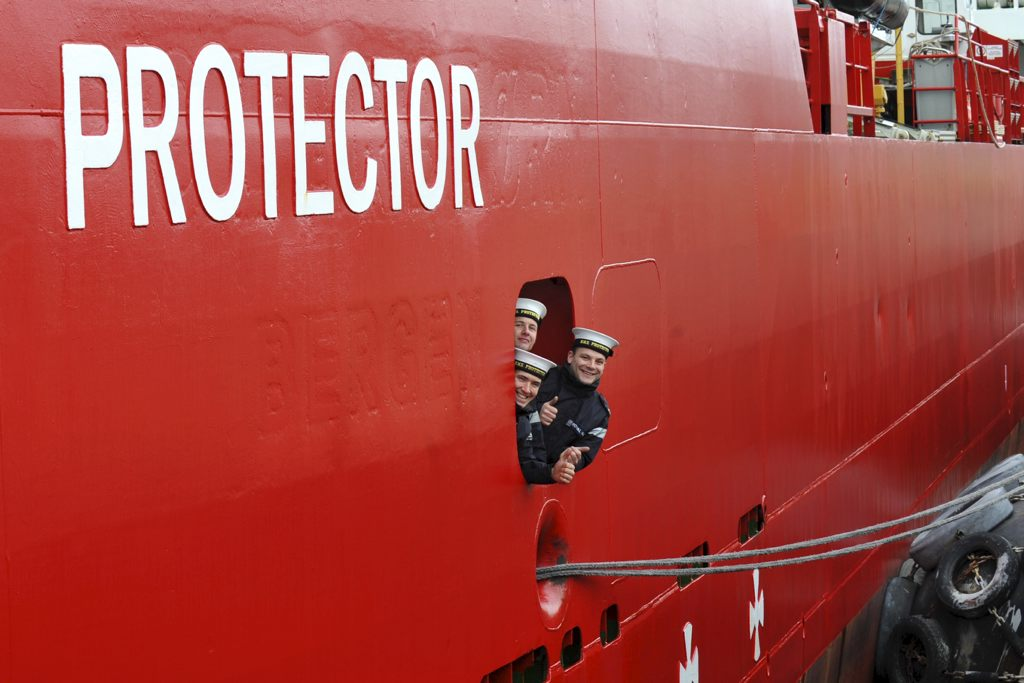 HMS Protector returns to Portsmouth
