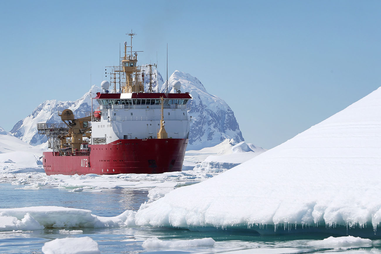 HMS Protector returns to remote Antarctic island