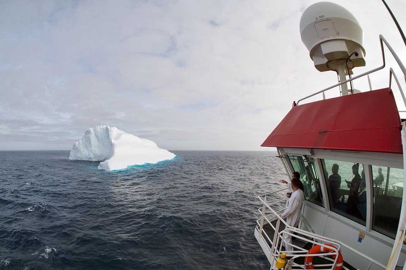 First iceberg of the season for HMS Protector
