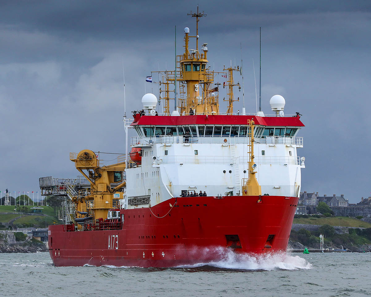 HMS Protector returned to Plymouth today after 4 years away.