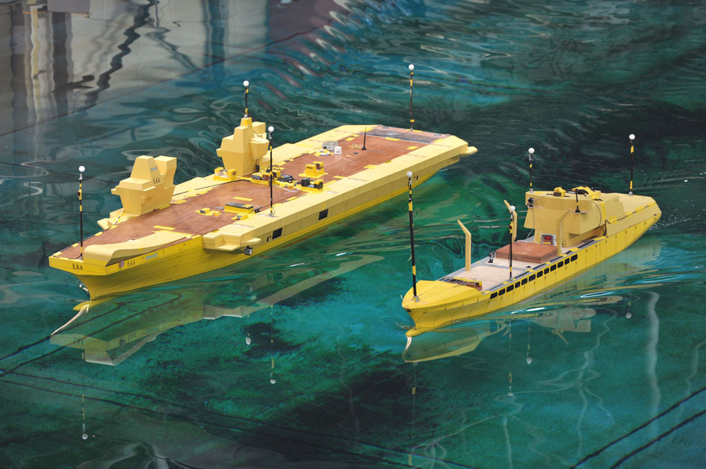 Navy's new carrier practises crucial refuelling using scale models