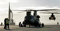 Helicopters join HMS Queen Elizabeth as she sails on first aircraft trials