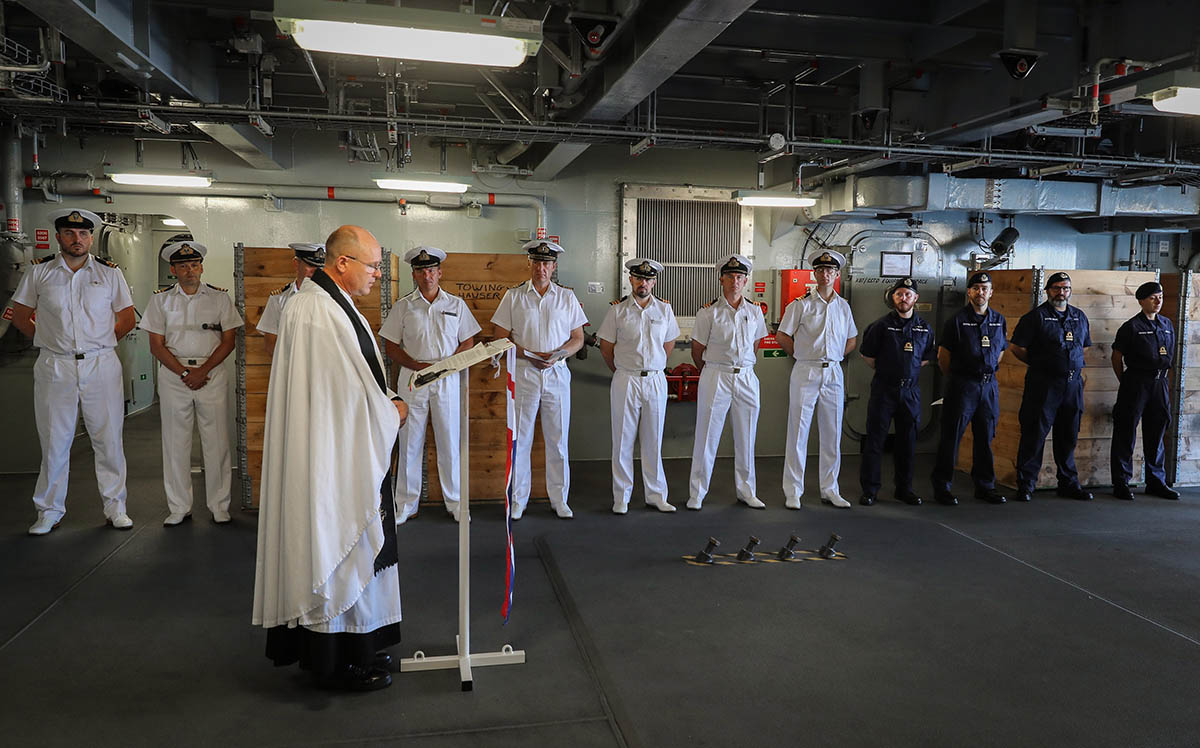 The service was conducted by the ship's Padre, Chaplain Alastair Mansfield