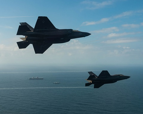 Two F-35 Lightning fighter jets have successfully landed on board HMS Queen Elizabeth for the first time (Lockheed Martin)