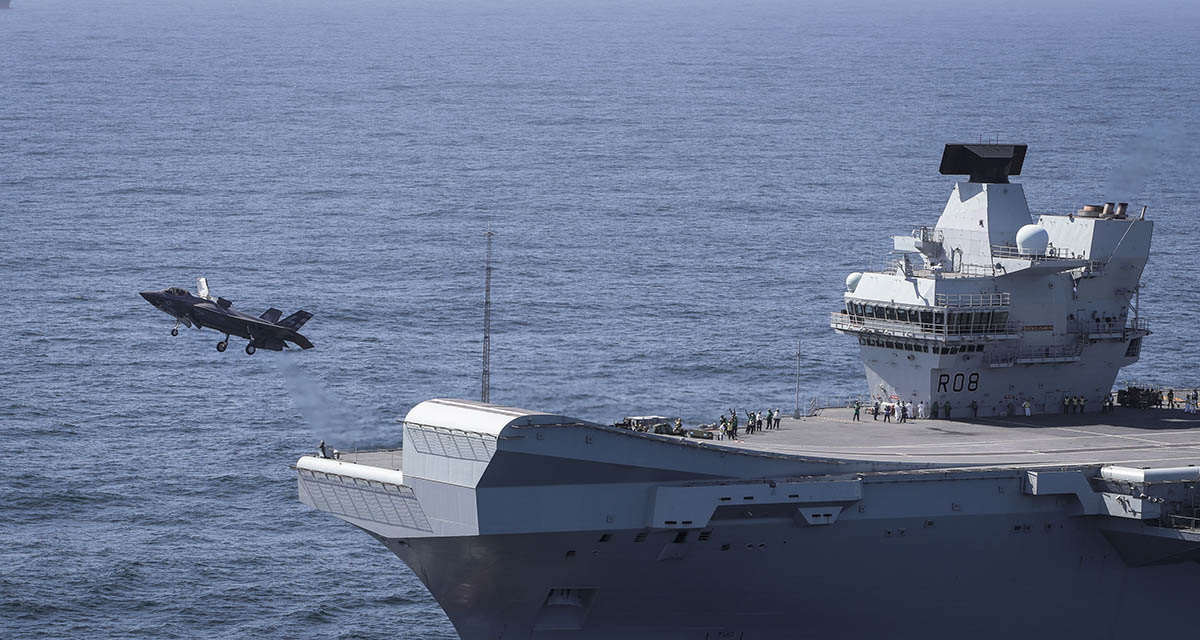 Commander Nathan Gray RN makes the first ever F-35B Lightning II jet take off from HMS Queen Elizabeth.