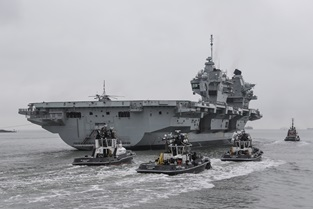 HMS Queen Elizabeth sails from Portsmouth for sea trials in UK waters. Picture: LPhot Barry Swainsbury