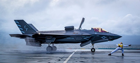 An F-35B Lightning jet takes off from HMS Queen Elizabeth. Picture: LPhot Mark Johnson