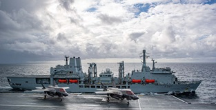 RFA Fort Victoria and HMS Queen Elizabeth. Picture: LPhot Mark Johnson