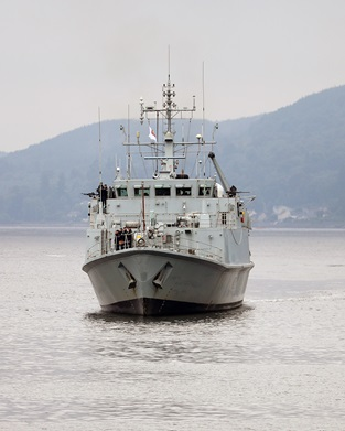 HMS Ramsey back on the Clyde after operating in the Baltic Sea as part of a NATO Task Group.