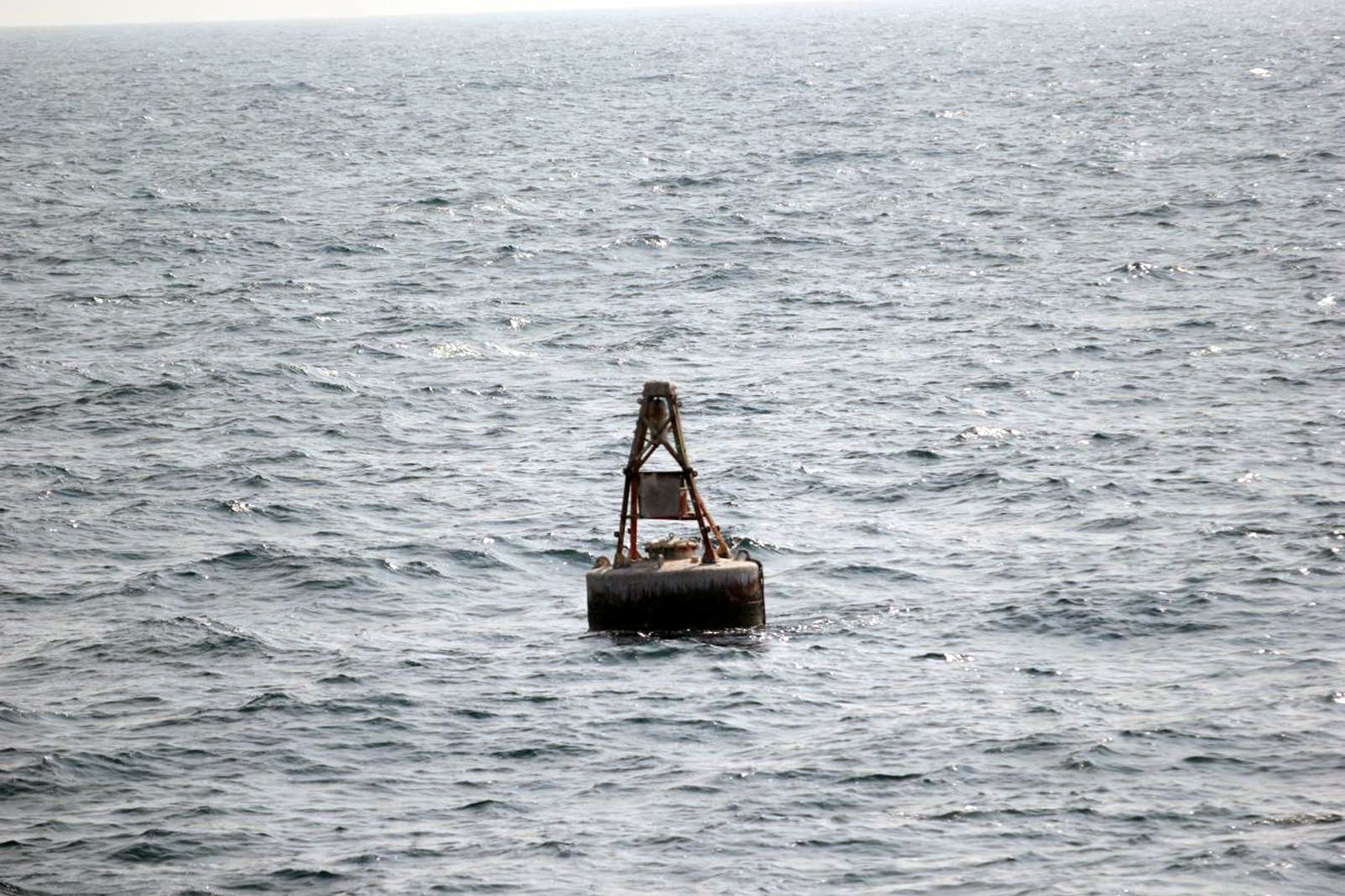 The drifting buoy as spotted by HMS Shoreham