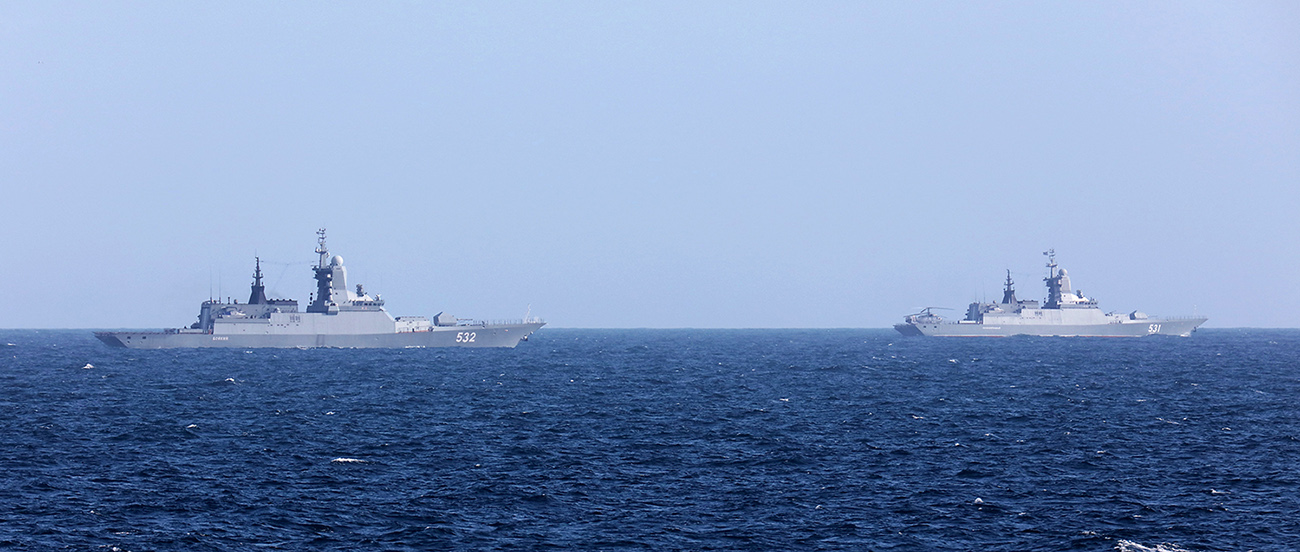 HMS Sutherland escorts two Russian warships through the English Channel