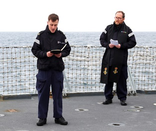 HMS Sutherland held a service in remembrance of the Arctic Convoys and those killed