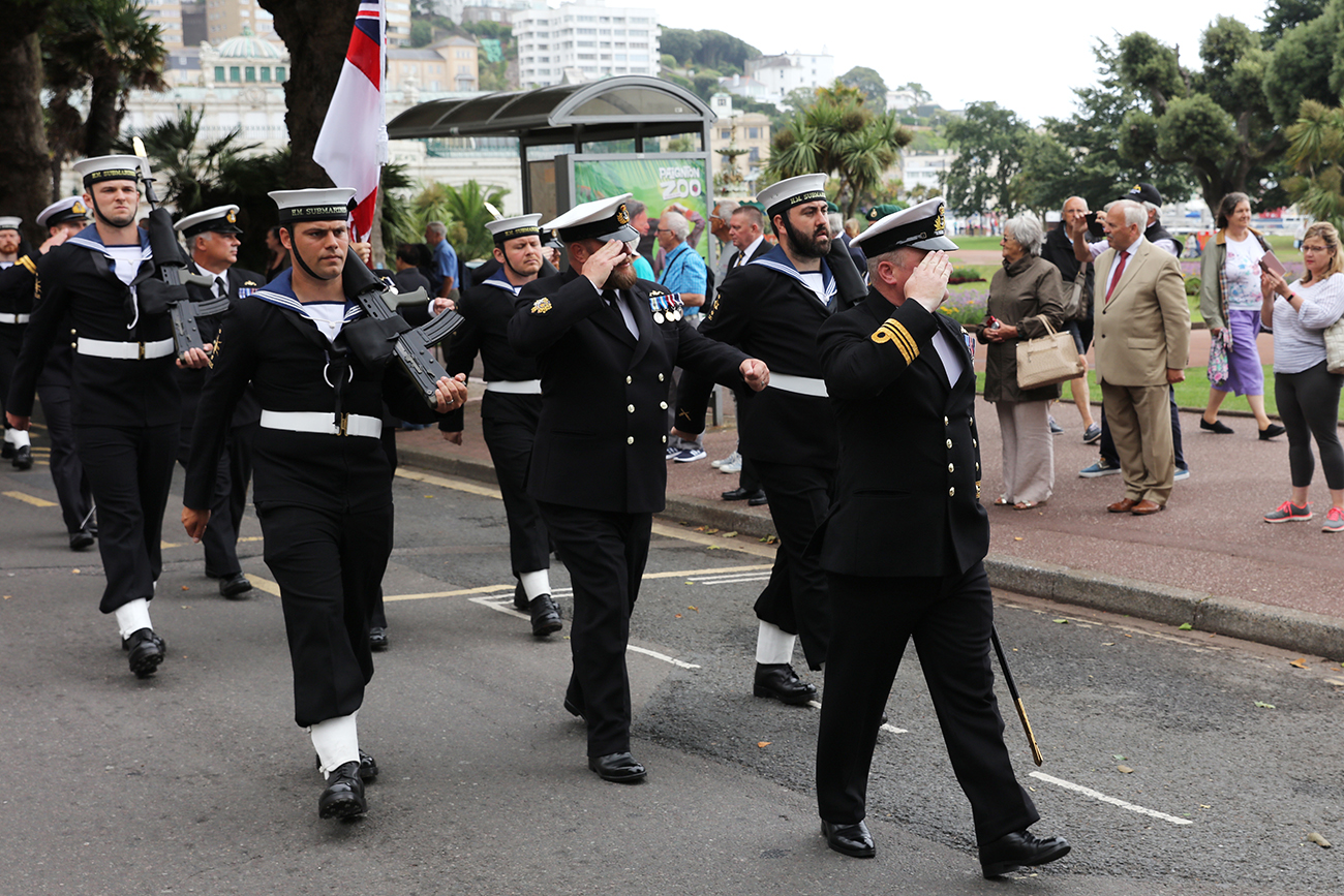 HMS Torbay waved a fond farewell by the people of Torbay