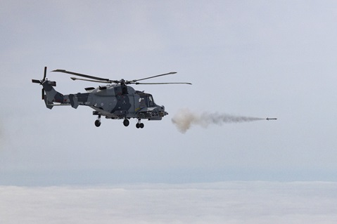 Martlet missile firing from a Wildcat helicopter