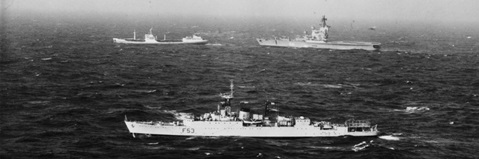 Frigate HMS Undaunted monitors Soviet helicopter cruiser Moskva and her tanker in February 1970
