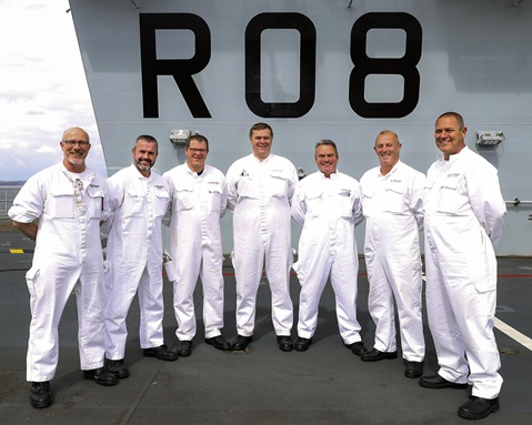 CPO Kevin Hewson (far right) with the first FOST team embarked on HMS Queen Elizabeth