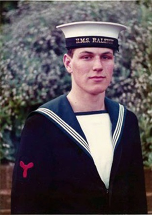 Kevin Hewson at HMS Raleigh in 1979