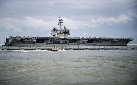 Giant US Navy Aircraft Carrier visits Portsmouth