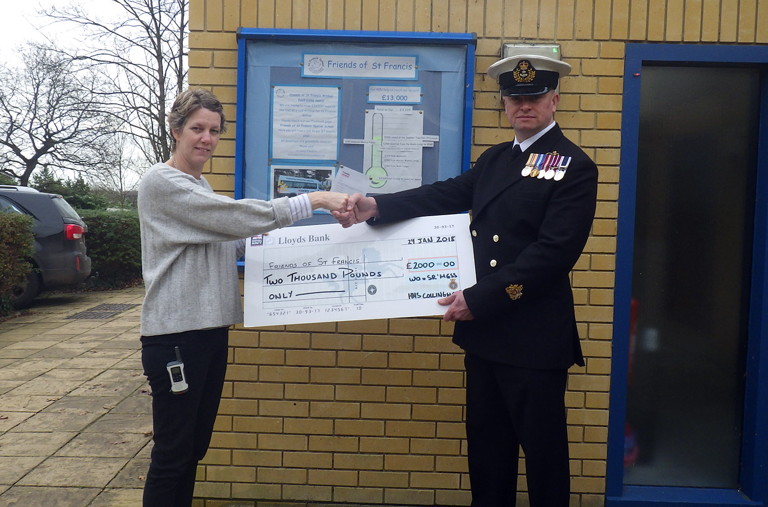 HMS Collingwood donates funds to help special school