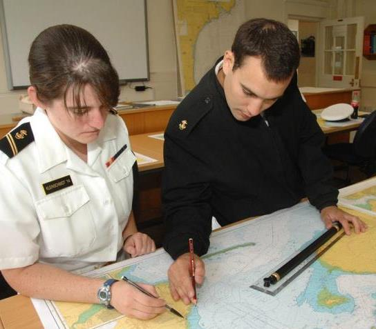 The US Navy Midshipmen practice their navigating skills