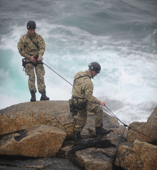 Royal Marines Commandos practised their mountaineering skills at almost the westernmost tip of Britain.