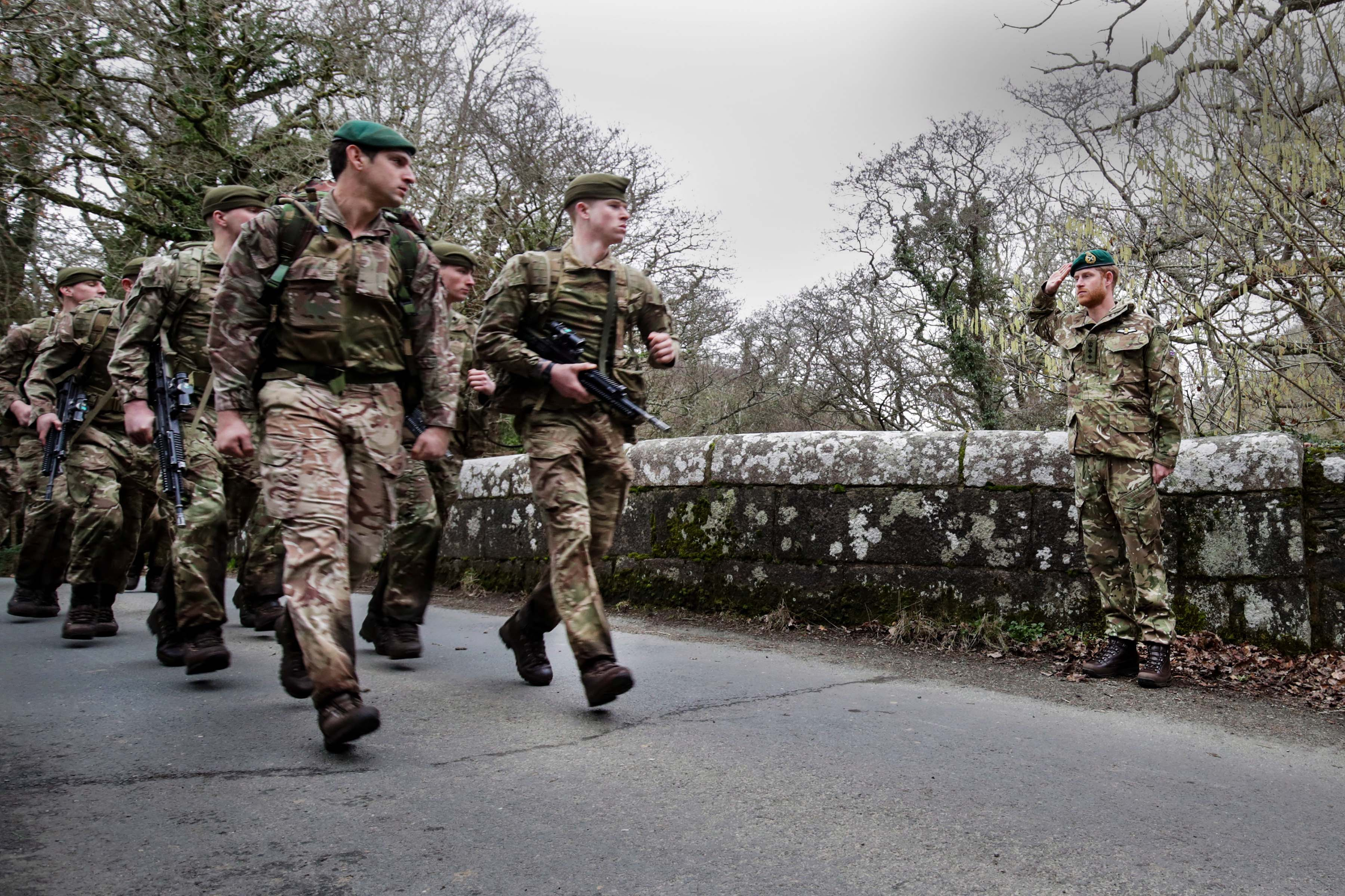 bea005418 The Duke of Sussex visited Royal Marines at the Commando Training Centre in  Lympstone