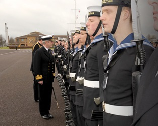Rear Admiral Hockley inspects HMS Sultan staff and trainees