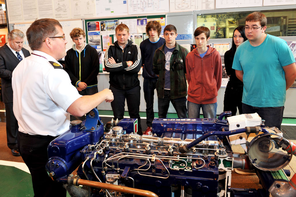Students from the Gosport marine skills centre visit HMS Sultan to get the 'bigger picture'