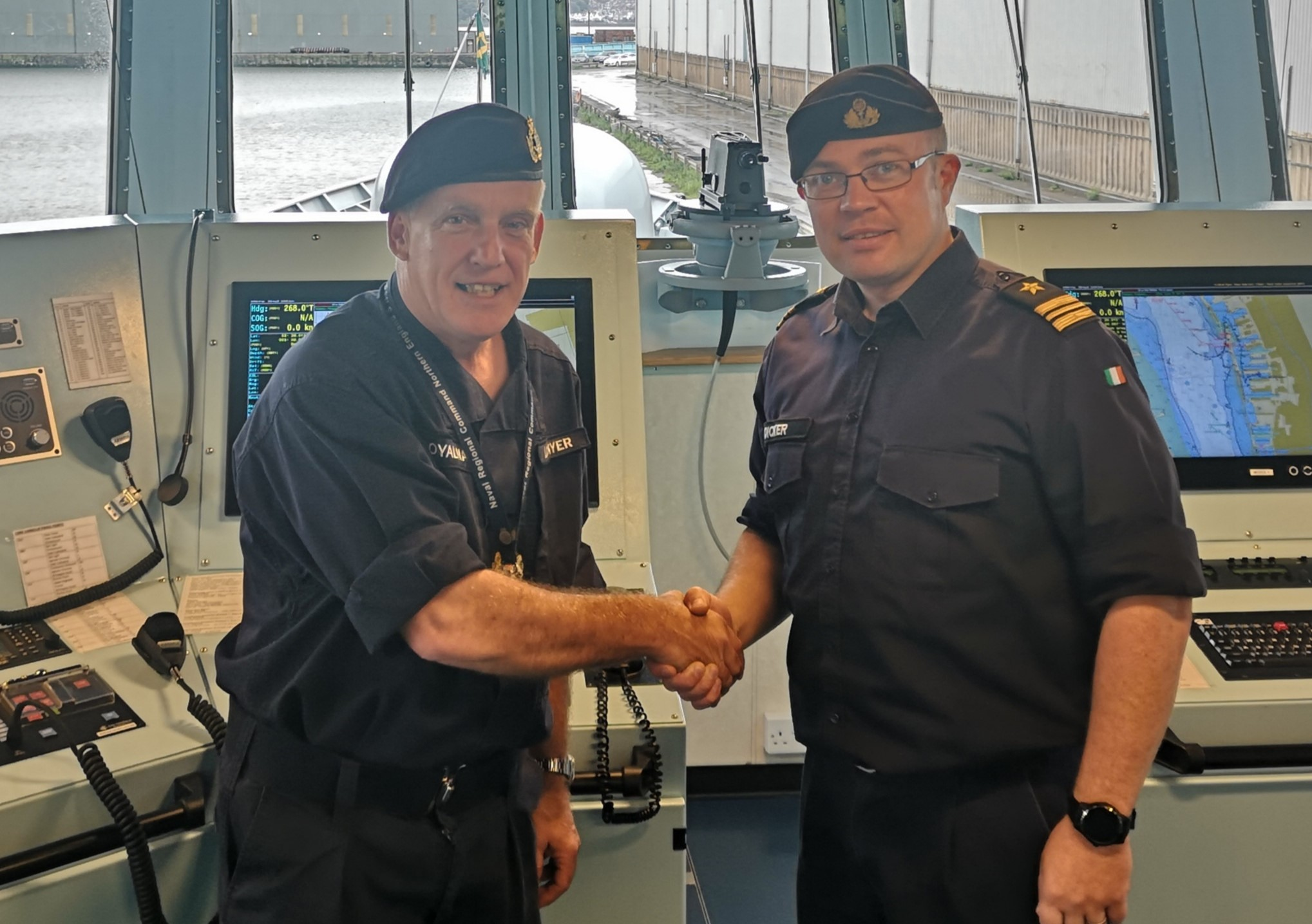 Warrant Officer 1 Rob Lockyer, of HMS Eaglet, with Lieutenant Commander Phillip Dicker, commanding officer of LE George Bernard Shaw which is visiting Liverpool this weekend.