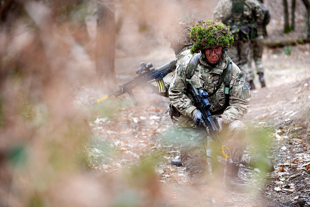 42 Commando sweeps through Surrey woodland