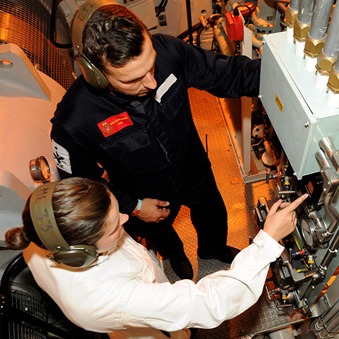Royal Navy Engineering Officer Bursary Scheme student at work