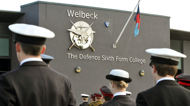 Welbeck Sixth Form Defence College student's working on Royal Navy kit.