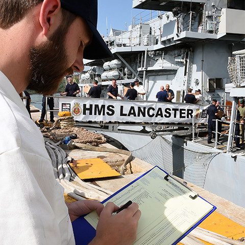 Logistics Officer at work in the Royal Navy