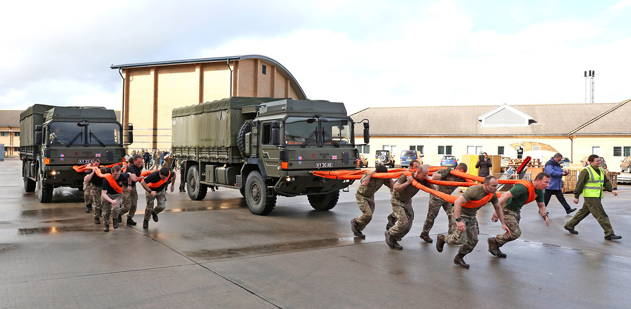 CHF personnel haul trucks through Yeovilton to mark LGBT history month