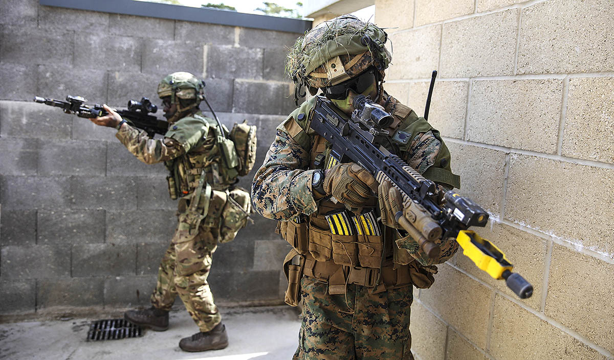 CQB (Close Quarters Battle) training at New Zealand Farm during Exercise Wessex Storm