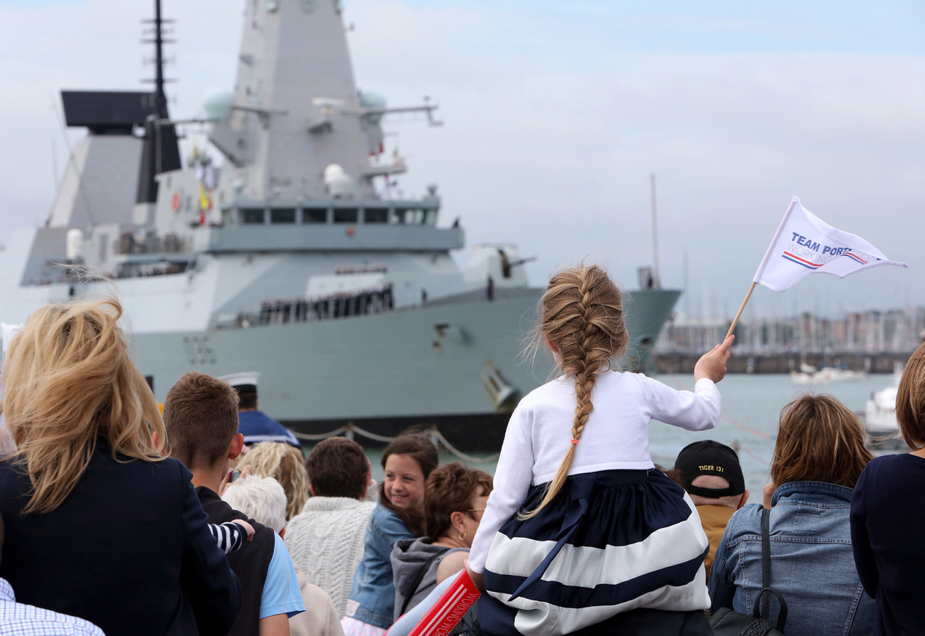 HMS Defender returns from the Middle East