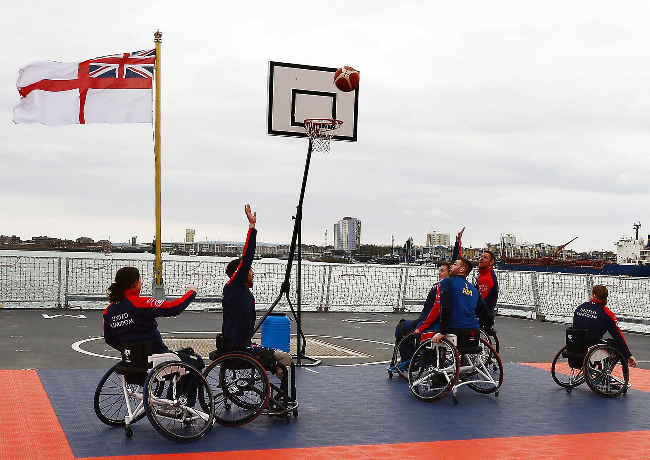 HMS Diamond the backdrop for Invictus Team preparation