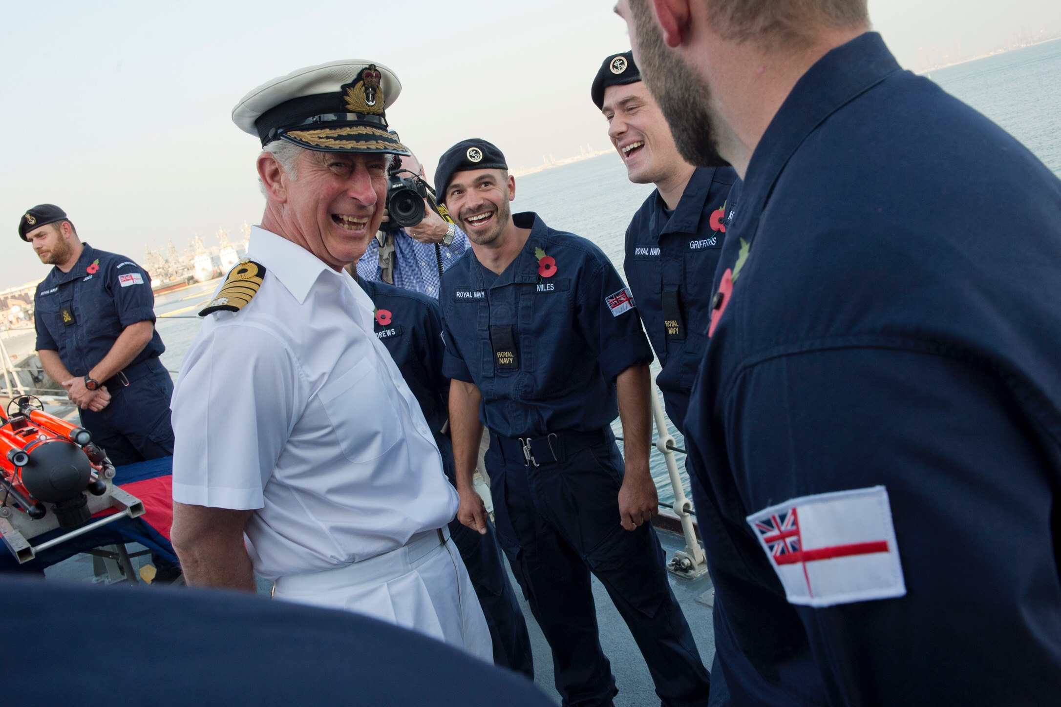 HRH The Prince of Wales shares a joke with the ship's company of HMS Middleton. Picture: PO G Granger US Navy