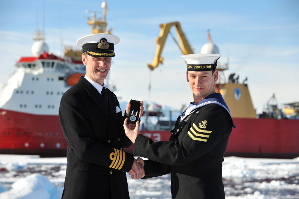 HMS Protector Sailor receives medal