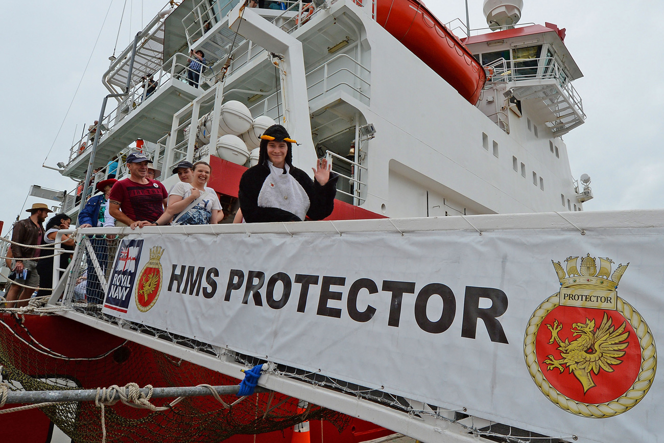 HMS Protector in New Zealand
