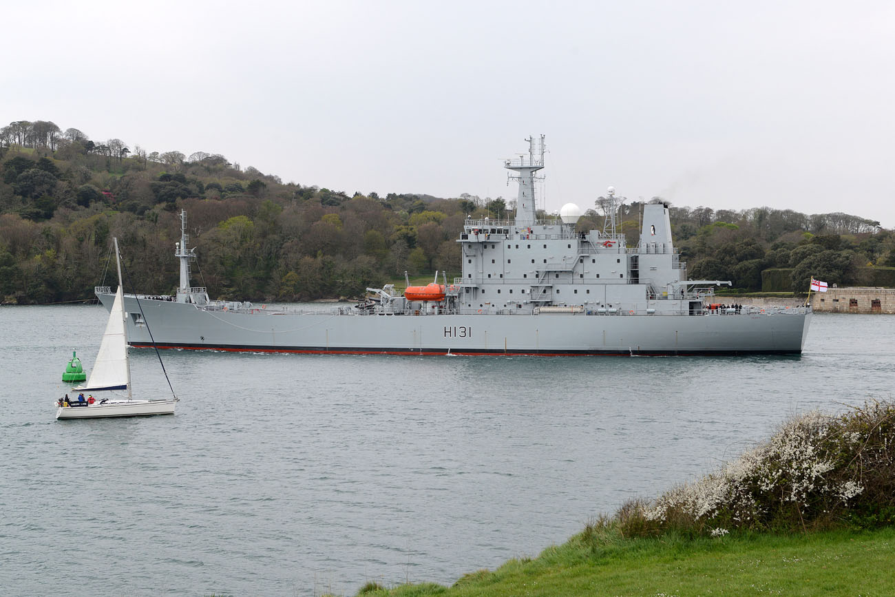 HMS Scott leaves Plymouth